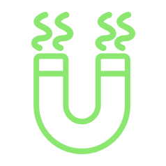 Green magnetic heat icon